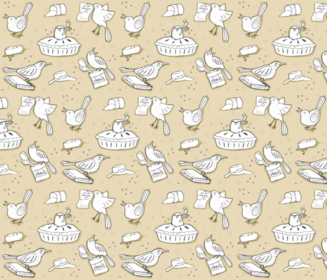 Blackbird Pie fabric by pinky_wittingslow on Spoonflower - custom fabric