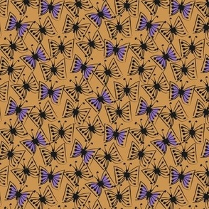 Flutterby - violet on caramel