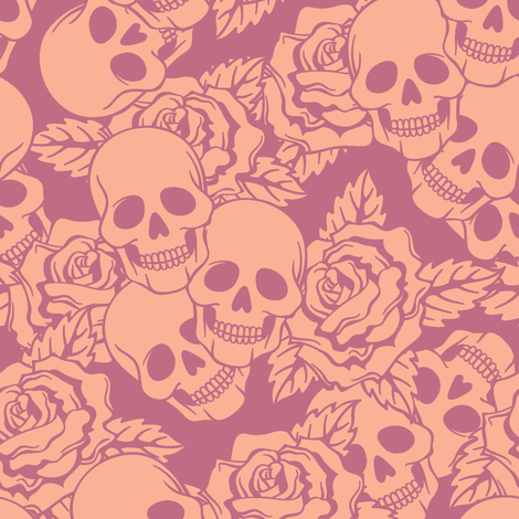 Shortcake Skulls Large fabric by sugarxvice on Spoonflower - custom fabric