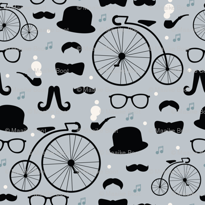 Film noir hipster pattern