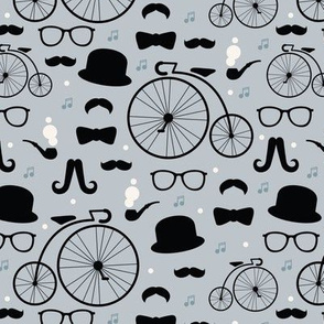 Film noir hipster pattern great gatsby icons bow tie mustache for boys