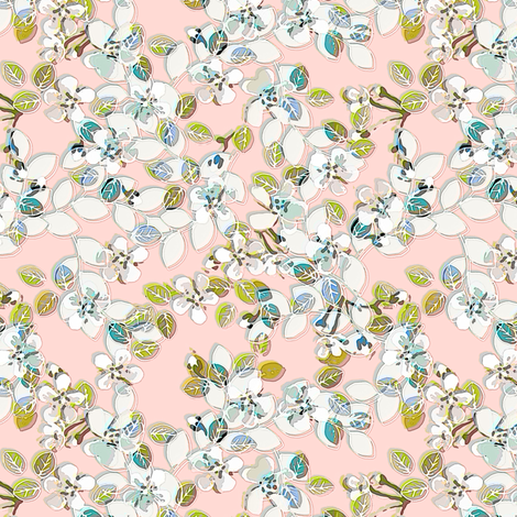 Soft Spring floral in pink fabric by joanmclemore on Spoonflower - custom fabric