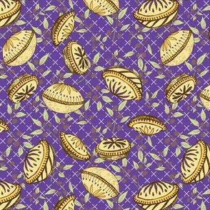Brazenberry Pastry Treats on Purple Lattice - Antique
