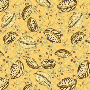 Brazenberry Pastry Treats on Sunny Yellow Lattice - Antique