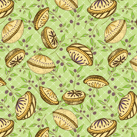 Brazenberry Pastry Treats on Light Green Lattice - Antique fabric by rhondadesigns on Spoonflower - custom fabric