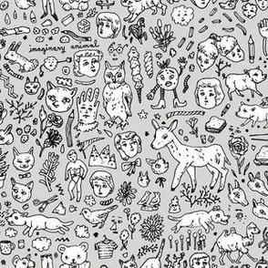 Imaginary Animal Doodletown | Grey