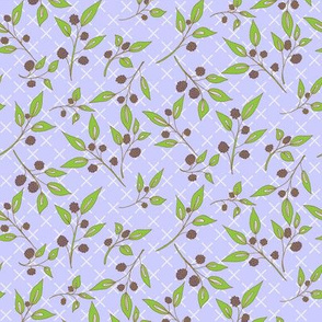 Brazenberry Clusters on Misty Mauve Lattice - Antique