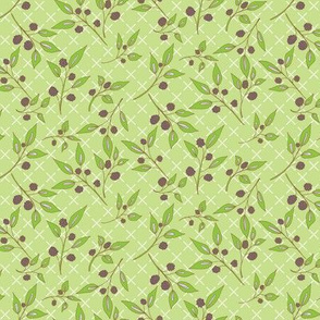 Brazenberry Clusters on Light Green Lattice - Antique
