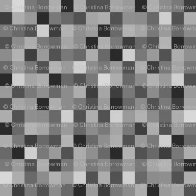 Minecraft Inspired Creeper Pixels - Grey, Black, and White