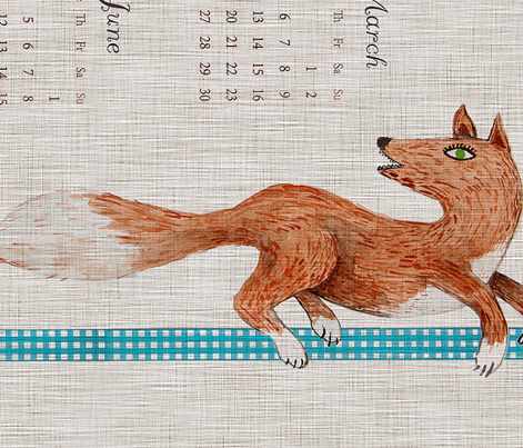 Naive Woodland 2016 Calendar Tea towel (Fall)