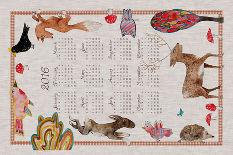 Naive Woodland 2016 Calendar Tea towel (Fall) fabric by nouveau_bohemian on Spoonflower - custom fabric