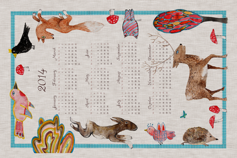 Naive Woodland 2014 Calendar fabric by nouveau_bohemian on Spoonflower - custom fabric