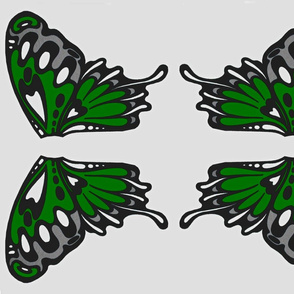 Nouveau wings applique green