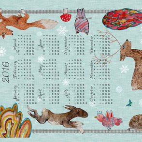 Naive Woodland 2016 Calendar Tea Towel (Winter)