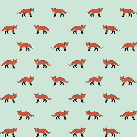 Foxen Mint fabric by mrshervi on Spoonflower - custom fabric