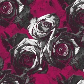 Roses on red