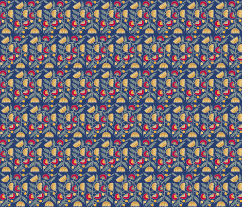 turkish_tulips_blue_gold fabric by lfntextiles on Spoonflower - custom fabric