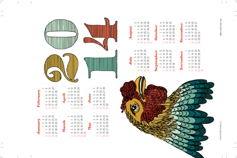 2014 Tea Towel Calendar - Chicken! fabric by flytrap on Spoonflower - custom fabric