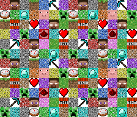 "Minecraft Inspired Collage 3"" Squares fabric by joyfulrose on Spoonflower - custom fabric"