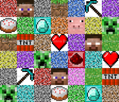"Minecraft Inspired Collage 6"" Squares"
