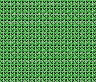 "Minecraft Inspired Creeper Face Fabric - Tiny 1.5"" Faces"