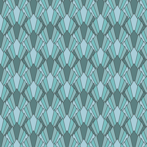 Art deco diamond fans, turquoise by Su_G fabric by su_g on Spoonflower - custom fabric
