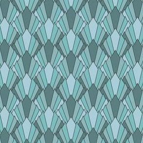 Art deco diamond fans, turquoise by Su_G