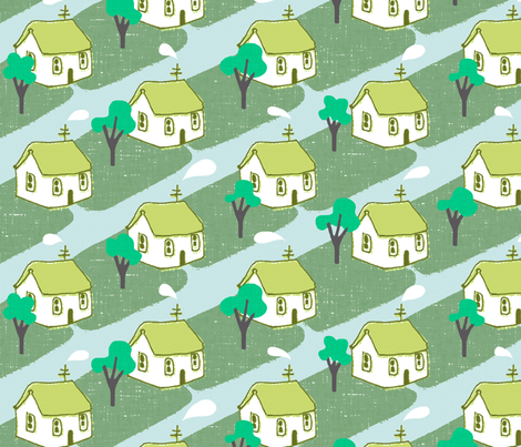 vintage neighborhood fabric by mummysam on Spoonflower - custom fabric