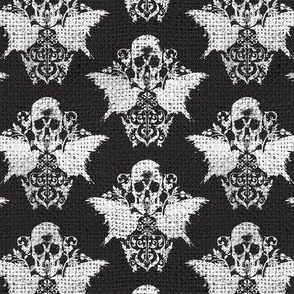 Skull Raven Damask - burlap