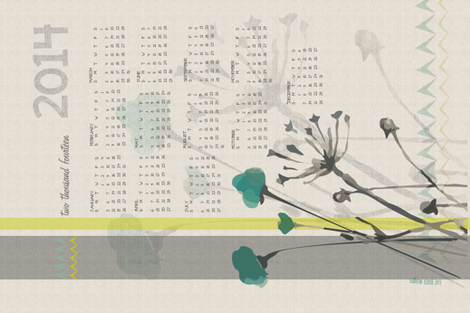 2014 Calendar fabric by fat_bird_designs on Spoonflower - custom fabric