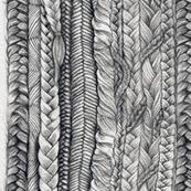 Braided Fabric Dark Grey Plaits