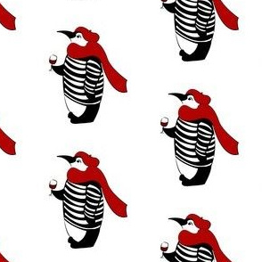 penguin drinking wine