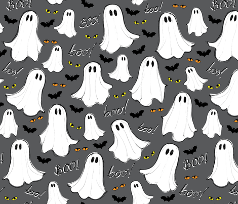 halloween ghosts fabric by susannekasielke on Spoonflower - custom fabric
