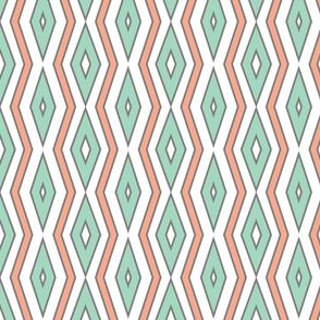 Mint & coral lines