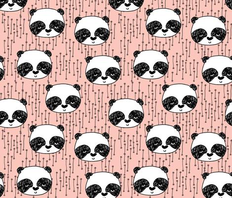 panda head // pink panda head cute panda design by andrea lauren pink panda fabric best panda design fabric by andrea_lauren on Spoonflower - custom fabric