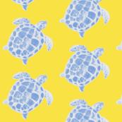 Loggerhead Sea Turtle Yellow and Blue
