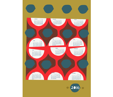 2016 retro tea towel calendar-27 inch