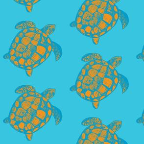 Loggerhead Sea Turtle Orange and Turquoise