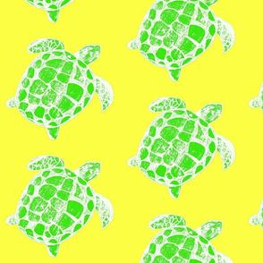 Loggerhead sea turtle yellow and green