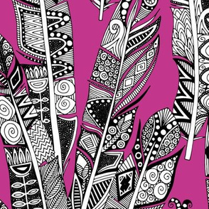 geo feathers hot pink