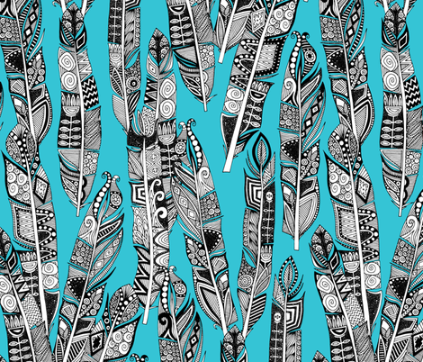 geo feathers turquoise blue fabric by scrummy on Spoonflower - custom fabric