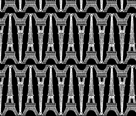 Paris ~ Eiffel For You ~ Black and White Chalk fabric by peacoquettedesigns on Spoonflower - custom fabric