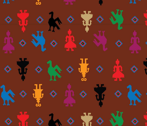 Indian Figures Brown fabric by almost_vintage on Spoonflower - custom fabric