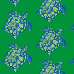 Loggerhead Sea Turtle Blues and Greens