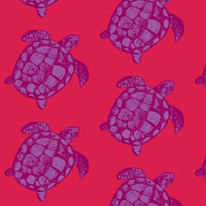 Loggerhead Sea Turtle Pink and Purple