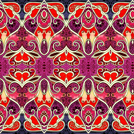 Batik Valentine Ghosts of Halloween fabric by edsel2084 on Spoonflower - custom fabric