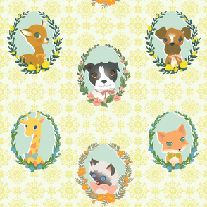 floral wreath animals large