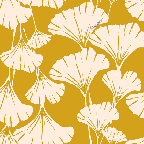 Royal Ginko - mustard -  fabric by frumafar on Spoonflower - custom fabric