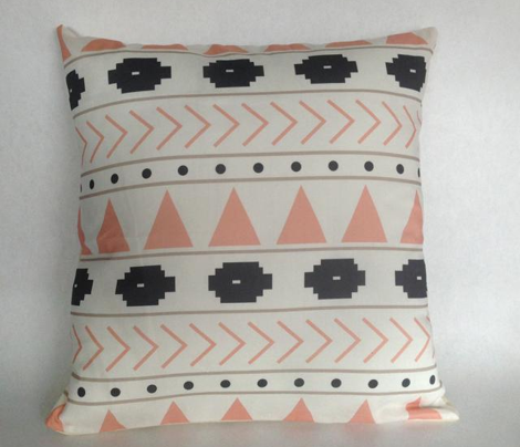 Pink & Charcoal Geometric Tribal Design
