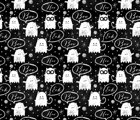 Chalkboard Ghost Friends fabric by twoifbyseastudios on Spoonflower - custom fabric